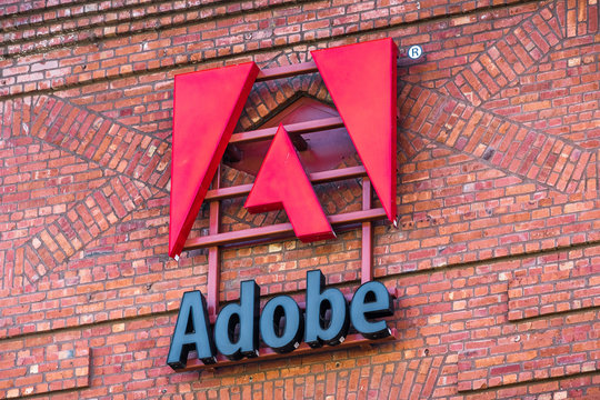 September 20, 2019 San Francisco / CA / USA - Close up of Adobe sign at their corporate headquarters in San Francisco