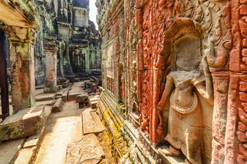 Wall Mural - Awesome bas-reliefs at Preah Khan temple in Angkor, Cambodia