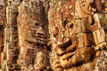 Wall Mural - Scenic view of giant smiling stone faces of Bayon temple