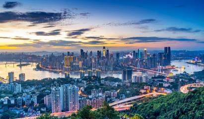 Nightscape Skyline of Urban Architecture in Chongqing, China Fototapete