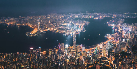 Iconic View of Victoria Harbour, Center of Hong Kong cityscape at night Wall mural