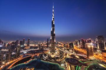 Foto op Plexiglas Dubai ドバイ・ブルジュ・ハリファの夜景