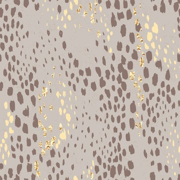 Abstract art seamless pattern with hand drawn wild brown and golden texture, animal predatory print.  Vector illustration for wrapping paper, textile or wallpaper.