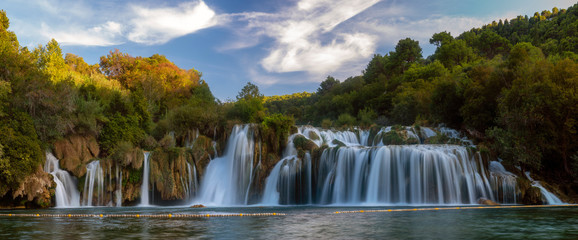 Recess Fitting Forest river Krka National Park-panorama of the waterfall against the beautiful evening sky