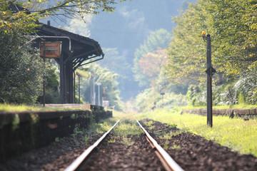 In de dag Spoorlijn ローカル線の駅と線路