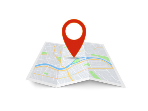 Map with pin. Red direction pointer on folded city map, gps navigation and travel location vector 3d icon