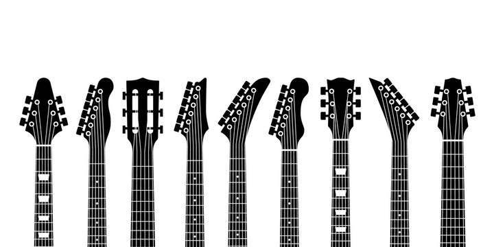 Guitar headstocks. Acoustic and rock electric guitars heads. Outline musical instrument, minimal abstract music symbols vector concept