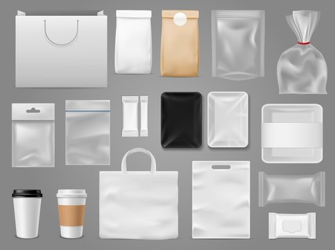 Mock up for take away. Packaging food containertea and paper bag, disposable cup for branding coffee shop or cafe vector template
