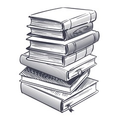Stack of books sketch. Drawings engrave pile of old vintage dictionary and study research book vector illustration