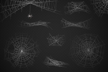 Spider web. Cobweb silhouette for halloween decoration, gossamer trap. Scary horror webs, spooky garden realistic web vector set