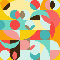 Seamless pattern in geometric pop style 70s. Abstract colorful background. Triangular and round elements, simple shapes.