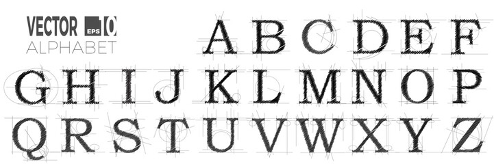 set of font and alphabet, vector of modern abstract letters made with pen.