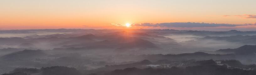 千葉県・九十九谷展望公園 朝日と雲海 パノラマ