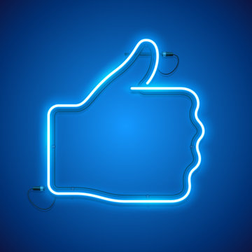 Blue neon like, thumbs up sign makes it quick and easy to customize your project in modern style.