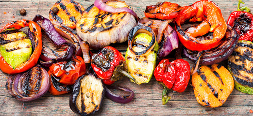 Grilled vegetables mix Wall mural