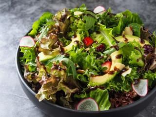Fresh salad Avocado Mixed, Healthy salad, salad with sliced avocado