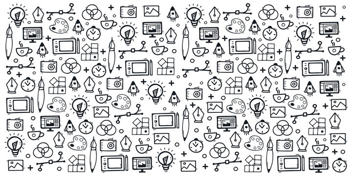 Graphic Design Background with hand draw doodle elements.