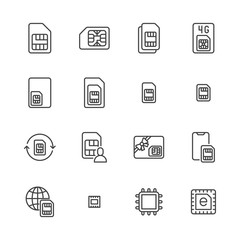 Sim card flat line icons set. Micro, nano simcard, new eSim technology, mobile phone chip vector illustrations. Outline signs for electronic store. Pixel perfect 64x64. Editable Strokes