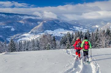 Fotorollo Rosa dunkel Raquettes en duo et paysage de neige en Chartreuse