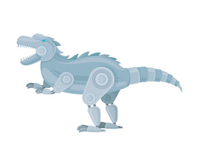 Robot dinosaur stands on its hind legs. Side view. Vector illustration on a white background.