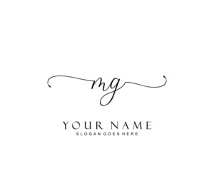 Initial MG beauty monogram and elegant logo design, handwriting logo of initial signature, wedding, fashion, floral and botanical with creative template