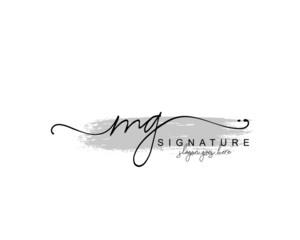 Fototapeta Initial MG beauty monogram and elegant logo design, handwriting logo of initial signature, wedding, fashion, floral and botanical with creative template obraz