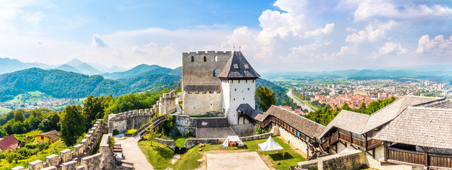 Panoramic view at the Old Catle of Celje with Town in backround - Slovenia