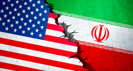 USA and Iran Conflict concept - 3D  illustration Wall mural