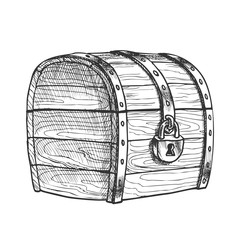 Treasure Chest Protected Metal Lock Vintage Vector. Ancient Old Armored Locked Wood Chest Packaging. Secured Jewelry Box Engraving Layout Designed In Retro Style Black And White Illustration