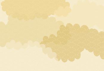 雲と青海波の背景イラスト