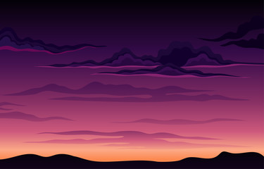 Purple evening sky over the black hills. Vector illustration.