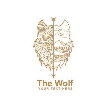 illustration of wolf line art