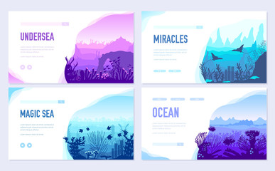 dedicated to undersea vector brochure cards set. Coral reef in the ocean template of flyear, web banner, ui header, enter site. Invitation concept background. Layout illustration modern slider page