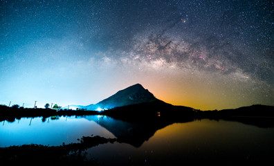 Beautiful night landscape of milky way galaxy over the mountain and lake foreground. Long exposure photography of night sky.