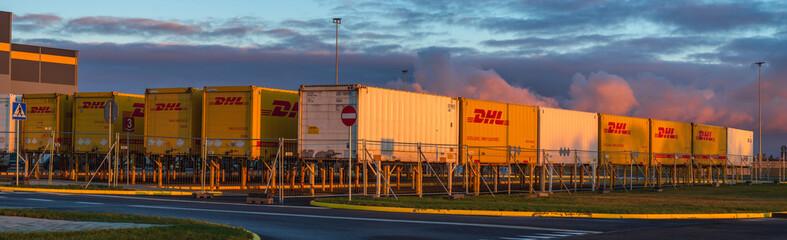 Szczecin, Poland-January 2019: DHL containers at the Amazon logistics center in Szczecin, Poland