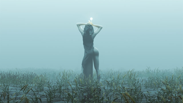 Witch Demon Woman with White Eyes and Glowing Orb in Futuristic Haute Couture Dress Abstract Demon Foggy Watery Void with Reeds and Grass background Back View 3d Illustration 3d render