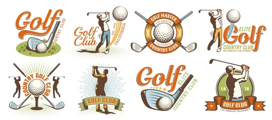 Golf retro logo with clubs balls and golfer. Vintage country golf club emblem set. Vector illustration.