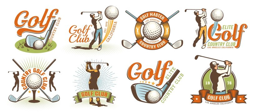 Golf retro logo with clubs balls and golfer. Vintage country golf club emblem set. Vector illustration.
