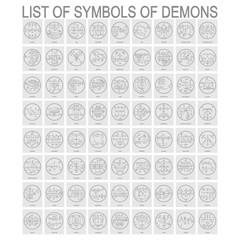Vector set with symbols of demons. Sigils of Demons
