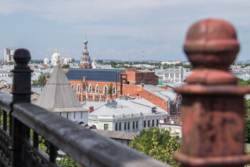 Yaroslavl. View from height. View from the monastery belfry of the Transfiguration monastery. Modern buildings in the old town