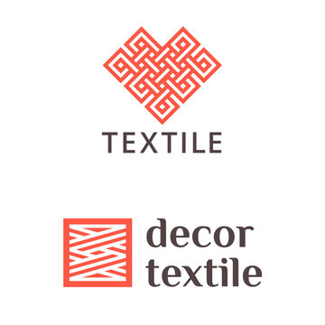Set of vector logo design for shop knitting, textile, fabric.
