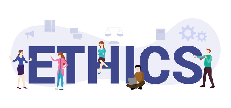 ethics or code of conduct concept with big word or text and team people with modern flat style - vector