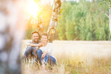 Loving family together in a park, field or woodlands