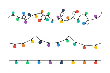 Christmas lights bulbs. Colorful christmas lights bulbs isolated on white background. Color garlands. Lights bulbs in simple trendy flat design. Christmas illustrtation. Vector