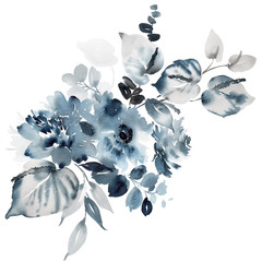 Watercolor card with a bouquet of flowers in indigo