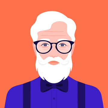 Portrait of an old hipster man in a suit with a bow tie. Avatar fashion grandfather. Vector illustration in flat style