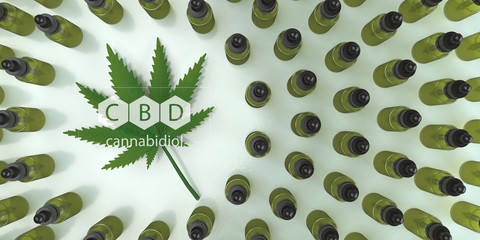 CBD, Cannabidiol oil bottles with a hemp leaf. 3d illustration.