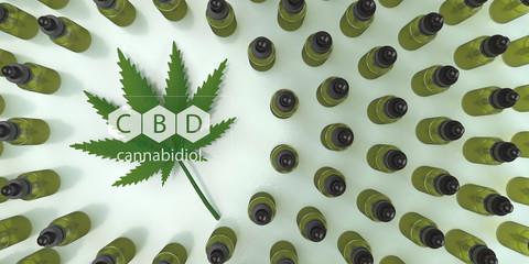 CBD, Cannabidiol oil bottles with a hemp leaf. 3d illustration.