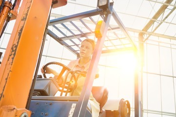 Young female farmer driving forklift in greenhouse with yellow lens flare in background