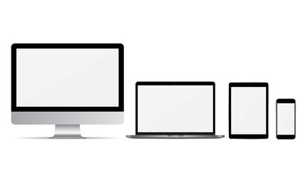 Set of computer monitor, laptop, smartphone and tablet with empty screen on a white background